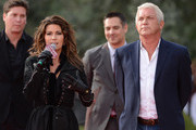 Shania is greeted by John Meglen, (R) president and CEO.of AEG Live/Concerts West, Jason Owen,(Back Left) Shania?s manager and Raj Kapoor, (Back Right) show director of SHANIA: STILL THE ONE at Caesars Palace on November 14, 2012 in Las Vegas, Nevada. SHANIA: STILL THE ONE debuts December 1, 2012..