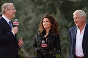 Shania Twain (C) is greeted by Gary Selesner, (L) Caesars Palace regional president and John Meglen, (R) president and CEO of AEG Live/Concerts West at Caesars Palace on November 14, 2012 in Las Vegas, Nevada. SHANIA: STILL THE ONE debuts December 1, 2012.