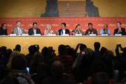 """Jared Harris, Jean Reno, Charlize Theron, Javier Bardem, Adele Exarchopoulos, director Sean Penn, Zubin Cooper and producer Matt Palmieri attend the """"The Last Face"""" Press Conference during the 69th annual Cannes Film Festival at the Palais des Festivals on May 20, 2016 in Cannes, France."""