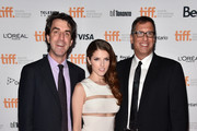 """(L-R) Director Jason Robert Brown, actress Anna Kendrick and director Richard LaGravenese attend """"The Last Five Years"""" premiere during the 2014 Toronto International Film Festival at Ryerson Theatre on September 7, 2014 in Toronto, Canada."""