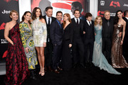 "(L-R) Deborah Snyder, Diane Lane, Gal Gadot, Ben Affleck, Zack Snyder, Amy Adams, Henry Cavill, Jesse Eisenberg, Holly Hunter, Charles Roven, and Tao Okamoto attend the launch of Bai Superteas at the ""Batman v Superman: Dawn of Justice"" premiere on March 20, 2016 in New York City."