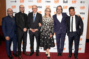 Scott Z. Burns, Steven Soderbergh, Jake Bernstein, Meryl Streep, Gary Oldman and Lawrence Grey attend the North American Premiere of 'The Laundromat' at the The Princess of Wales Theatre on September 09, 2019 in Toronto, Canada.