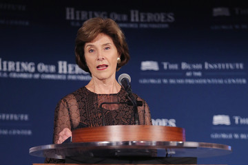 Laura Bush George W. Bush and Laura Bush Speak at Veteran's Employment Opportunities Summit In D.C.