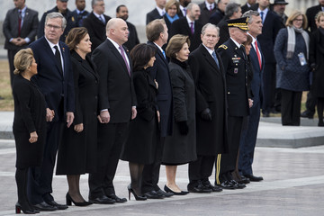Laura Bush President George H.W. Bush Lies In State At US Capitol