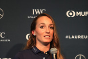 Kosovare Asllani speaks during the Laureus Sport For Good Award Presentation on February 17, 2019 in Monaco, Monaco.