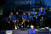 Team Europe look on from court-side in the singles match between Jack Sock of Team World and Fabio Fognini of Team Europe during Day One of the Laver Cup 2019 at Palexpo on September 20, 2019 in Geneva, Switzerland. The Laver Cup will see six players from the rest of the World competing against their counterparts from Europe. Team World is captained by John McEnroe and Team Europe is captained by Bjorn Borg. The tournament runs from September 20-22.