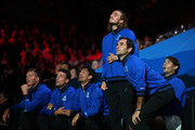 Roger Federer of Team Europe and teammates react as they watch from the court-side in the singles match between Dominic Thiem of Team Europe and Denis Shapovalov of Team World during Day One of the Laver Cup 2019 at Palexpo on September 20, 2019 in Geneva, Switzerland. The Laver Cup will see six players from the rest of the World competing against their counterparts from Europe. Team World is captained by John McEnroe and Team Europe is captained by Bjorn Borg. The tournament runs from September 20-22.
