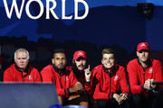 Patrick McEnroe, Vice Captain of Team World, Nick Kyrgios, Jordan Thompson, Taylor Fritz and John Isner of Team World react as they watch the singles match between Denis Shapovalov of Team World and Dominic Thiem of Team Europe during Day One of the Laver Cup 2019 at Palexpo on September 20, 2019 in Geneva, Switzerland. The Laver Cup will see six players from the rest of the World competing against their counterparts from Europe. Team World is captained by John McEnroe and Team Europe is captained by Bjorn Borg. The tournament runs from September 20-22.