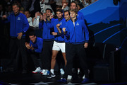 Team Europe celebrate from the courtside in the singles match between Dominic Thiem of Team Europe and Denis Shapovalov of Team World during Day One of the Laver Cup 2019 at Palexpo on September 20, 2019 in Geneva, Switzerland. The Laver Cup will see six players from the rest of the World competing against their counterparts from Europe. Team World is captained by John McEnroe and Team Europe is captained by Bjorn Borg. The tournament runs from September 20-22.