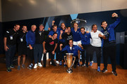 Team Europe players and backroom staff pose with the trophy after winning the Laver Cup in the final match of the tournament during Day Three of the Laver Cup 2019 at Palexpo on September 22, 2019 in Geneva, Switzerland. The Laver Cup will see six players from the rest of the World competing against their counterparts from Europe. Team World is captained by John McEnroe and Team Europe is captained by Bjorn Borg. The tournament runs from September 20-22.