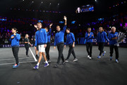 Team Europe acknowledge the fans as they parade with the trophy after winning the Laver Cup in the final match of the tournament during Day Three of the Laver Cup 2019 at Palexpo on September 22, 2019 in Geneva, Switzerland. The Laver Cup will see six players from the rest of the World competing against their counterparts from Europe. Team World is captained by John McEnroe and Team Europe is captained by Bjorn Borg. The tournament runs from September 20-22.