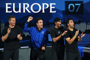 Thomas Enqvist, Roberto Bautista Agut, Rafael Nadal and Fabio Fognini of Team Europe celebrate in the doubles match between Stefanos Tsitsipas, playing partner of Roger Federer of Team Europe and Jack Sock, playing partner of John Isner of Team World during Day Three of the Laver Cup 2019 at Palexpo on September 22, 2019 in Geneva, Switzerland. The Laver Cup will see six players from the rest of the World competing against their counterparts from Europe. Team World is captained by John McEnroe and Team Europe is captained by Bjorn Borg. The tournament runs from September 20-22.