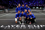 Team Europe poses with the trophy after their Men's Singles match on day three to win the 2018 Laver Cup at the United Center on September 23, 2018 in Chicago, Illinois.