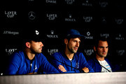 Team Europe Novak Djokovic of Serbia speaks to the media after winning the Laver Cup on day three of the 2018 Laver Cup at the United Center on September 23, 2018 in Chicago, Illinois.