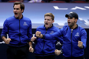 Team Europe Roger Federer of Switzerland, Team Europe David Goffin of Belgium and Team Europe Grigor Dimitrov of of Bulgaria celebrates a point by Team Europe Alexander Zverev of Germany during his Men's Singles match on day three of the 2018 Laver Cup at the United Center on September 23, 2018 in Chicago, Illinois.