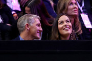 Footballer Bastian Schweinsteiger of Germany and tennis player Ana Ivanovic of Serbia watch as Team Europe Roger Federer of Switzerland plays Team World John Isner of the United States during the Men's Singles match on day three of the 2018 Laver Cup at the United Center on September 23, 2018 in Chicago, Illinois.