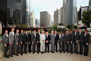 L-R Team Europe and Team Rest of the World Jeremy Chardy;Alexander Zverev,Kyle Edmund,Grigor Dimitrov,David Goffin, Novak Djokovic,Roger Federer,vice captain Thomas Enqvist, team captain Bjorn Borg Rod Laver,Rest of the World team captain John McEnroe,vice captain Patrick McEnroe, Diego Schwartzman,Frances Tiafoe,Jack Sock,,Nick Kyrgios,Kevin Anderson,John Isner and Nicolas Jarry  pose for their official team photo shoot  prior to the Laver Cup at the United Center on September 19, 2018 in Chicago, Illinois.The Laver Cup consists of six players from the rest of the World competing against their counterparts from Europe.John McEnroe will captain the Rest of the World team and Europe will be captained by Bjorn Borg. The event runs from 21-23 Sept.