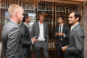 Team Europe members Roger Federer of Switzerland, Kyle Edmund of England, Jeremy Chardy of France, Alexander Zverev of Germany and Grigor Dimitrov of Bulgaria speak prior to the Team Ceremony on September 19, 2018 in Chicago, Illinois. The Laver Cup consists of six players from the Rest of the World competing against their counterparts from Team Europe.  John McEnroe will captain the Rest of the World Team and Team Europe will be captained by Bjorn Borg.  The event runs from Sept.21-23.