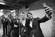 Editors Note: Image was converted to Black and White R-L Jeremy Chardy of Team Europe takes a selfie of team mates Kyle Edmund, David Goffin,Grigor Dimitrov,Alexander Zverev and Roger Federer as Team Europe wait backstage to be unveiled at the official welcome ceremony prior to the Laver Cup at the United Center on September 19, 2018 in Chicago, Illinois.The Laver Cup consists of six players from the rest of the World competing against their counterparts from Europe.John McEnroe will captain the Rest of the World team and Europe will be captained by Bjorn Borg. The event runs from 21-23 Sept.