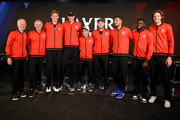 Team World Captain John McEnroe of the United States Vice Captain Patrick McEnroe of the United States pose with team members Kevin Anderson, John Isner, Diego Schwartzman, Jack Sock, Nick Kyrgios, Frances Tiafoe, and Nicolas Jarry prior to the Laver Cup at the United Center on September 20, 2018 in Chicago, Illinois. The Laver Cup consists of six players from Team World competing against their counterparts from Team Europe. John McEnroe will captain Team World and Team Europe will be captained by Bjorn Borg. The event runs from 21-23 Sept.