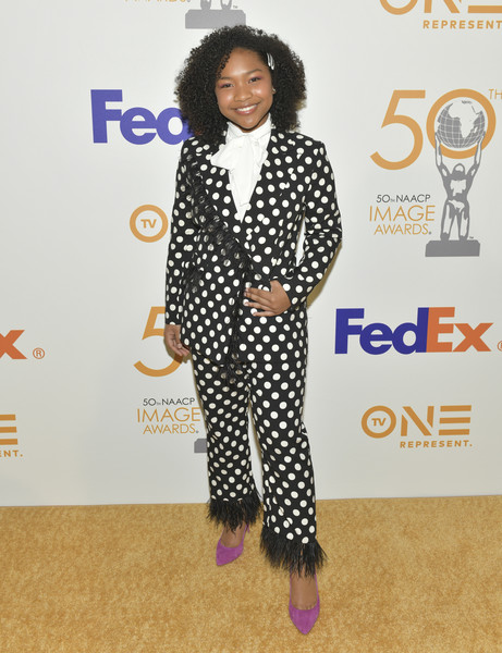 50th NAACP Image Awards Nominees Luncheon - Arrivals [clothing,pantsuit,fashion,hairstyle,suit,polka dot,carpet,design,red carpet,outerwear,arrivals,nominees,laya deleon hayes,naacp image awards,hollywood,california,loews hollywood hotel,luncheon,nominees luncheon]