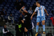 Lucas Leiva of SS Lazio competes for the ball with Wesley Sneijder of OGC Nice during the UEFA Europa League group K match between SS Lazio and OGC Nice at Stadio Olimpico on November 2, 2017 in Rome, Italy.