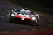 The Toyota Gazoo Racing TS050 Hybrid of Fernando Alonso, Sebastien Buemi and Kazuki Nakajima drives during the Le Mans 24 Hour race at the Circuit de la Sarthe on June 16, 2018 in Le Mans, France.