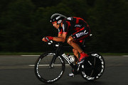 George Hincapie of the USA and the BMC Racing Team in action during stage twenty of the 2011 Tour de France, a 42.5km time trial from Grenoble to Grenoble on July 23, 2011 in Le Sonnant d'Uriage, France.