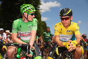 Yellow jersey wearer Tony Martin of Germany and Etixx-Quick Step and green jersey wearer Andre Greipel of Germany and Lotto-Soudal in discussion prior to stage six of the 2015 Tour de France, a 191.5km stage between Abbeville and Le Havre, on July 9, 2015 in Abbeville, France.