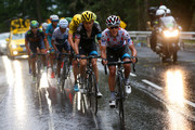 Richie Porte of Australia and Team Sky rides ahead of Geraint Thomas of Great Britain and Team Sky, Chris Froome of Great Britain and Team Sky, Nairo Alexander Quintana Rojas of Colombia and Movistar Team and Alejandro Valverde Belmonte of Spain and Movistar Team during stage twelve of the 2015 Tour de France, a 195 km stage between Lannemezan and Plateau de Beille, on July 16, 2015 in Plateau de Beille, France.