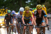 Geraint Thomas of Great Britain and Team Sky rides ahead of Chris Froome of Great Britain and Team Sky, Nairo Alexander Quintana Rojas of Colombia and Movistar Team and Alejandro Valverde Belmonte of Spain and Movistar Team  during stage twelve of the 2015 Tour de France, a 195 km stage between Lannemezan and Plateau de Beille, on July 16, 2015 in Plateau de Beille, France.