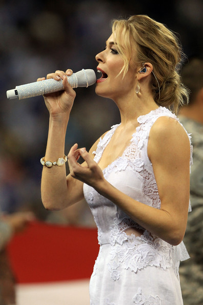LeAnn Rimes Musician LeAnn Rimes performs prior to the National Championship Game of the 2011 NCAA Division I Men's Basketball Tournament at Reliant Stadium on April 4, 2011 in Houston, Texas.