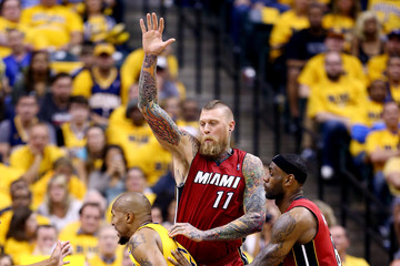 LeBron James Chris Andersen Miami Heat v Indiana Pacers - Game 1