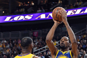 LeBron James Kevin Durant Golden State Warriors vs. Los Angeles Lakers