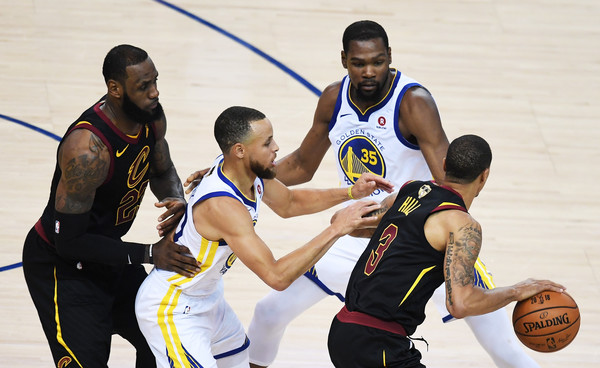 2018 NBA Finals - Game One [photograph,basketball,sports,team sport,ball game,basketball player,basketball moves,player,basketball court,tournament,game one,stephen curry,user,kevin durant,note,game,nba,golden state warriors,finals]