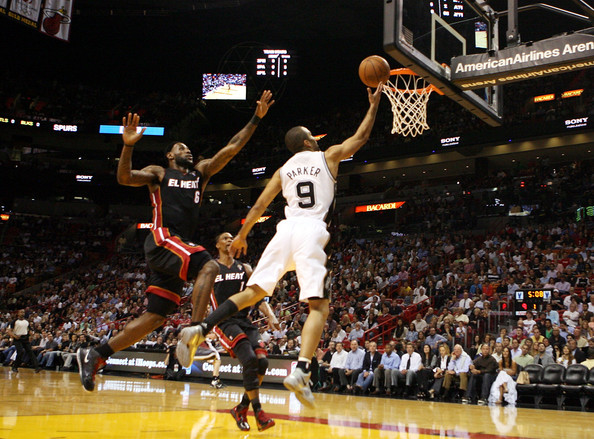 LeBron James and Tony Parker - San Antonio Spurs v Miami Heat