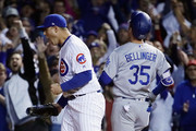 Anthony Rizzo #44 of the Chicago Cubs celebrates defeating the Los Angeles Dodgers 3-2 in game four of the National League Championship Series at Wrigley Field on October 18, 2017 in Chicago, Illinois.