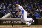 Anthony Rizzo #44 of the Chicago Cubs hits a single in the sixth inning against the Los Angeles Dodgers during game three of the National League Championship Series at Wrigley Field on October 17, 2017 in Chicago, Illinois.