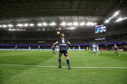 Keisuke Honda of the Victory throws the ball back into play during the round one A-League match between Melbourne Victory and Melbourne City at Marvel Stadium on October 20, 2018 in Melbourne, Australia.