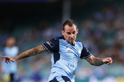 Luke Wilkshire of Sydney FC takes a shot on goal during the round 17 A-League match between Sydney FC and the Central Coast Mariners at Allianz Stadium on January 20, 2018 in Sydney, Australia.