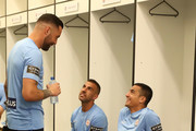 Dean Bouzanis, Manny Muscat and Tim Cahill of the City prepare for the round eight A-League match between Melbourne City and Perth Glory at AAMI Park on November 24, 2017 in Melbourne, Australia.