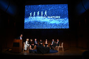 (L-R) Sebastian Junger, Polly Wiessner, Alison Brooks, Richard Wrangham, Mahzarin Banaji, Molly Crockett, Joshua Green and Francis Fukuyama are seen onstage during Our Tribal Nature: Tribalism, Politics, And Evolution symposia by The Leakey Foundation at The Morgan Library & Museum on September 19, 2019 in New York City.