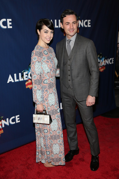 'Allegiance' Broadway Opening Night - Arrivals & Curtain Call [red carpet,carpet,premiere,event,suit,formal wear,flooring,fashion,dress,max von essen,leanne cope,allegiance,curtain call,red carpet,new york city,the longacre theatre,broadway,opening night - arrivals]