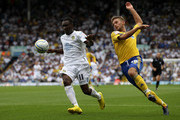 Lloyd Sam of Leeds United attempts to move away from James Bailey of Derby County during the npower Championship match between Leeds United and Derby County at Elland Road on August 7, 2010 in Leeds, England.