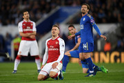 Aaron Ramsey of Arsenal reacts during the Premier League match between Leicester City and Arsenal at The King Power Stadium on May 9, 2018 in Leicester, England.