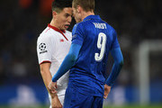 Samir Nzira of  Sevilla FC argues with  Jamie Vardy of Leicester Cty during the UEFA Champions League Round of 16 second leg match between Leicester City and Sevilla FC at The King Power Stadium on March 14, 2017 in Leicester, United Kingdom.