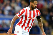Glen Johnson of Stoke City in action during the Premier League match between Leicester City and Stoke City at the King Power Stadium on April 1, 2017 in Leicester, England.
