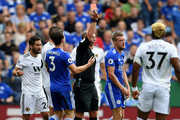 Jamie Vardy of Leicester City is sent off by referee Mike Dean during the Premier League match between Leicester City and Wolverhampton Wanderers at The King Power Stadium on August 18, 2018 in Leicester, United Kingdom.