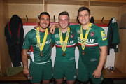 (L-R) Dan Bowden, George Ford and Ben Youngs of Leicester celebrate their victory during the Aviva Premiership Final between Leicester Tigers and Northampton Saints at Twickenham Stadium on May 25, 2013 in London, England.