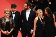 """(L-R) Actors Catherine Deneuve, director Christophe Honore, Rasha Bukvic, Ludivine Sagnier, and Chiara Mastroianni  attends the """"Les Bien-Aimes"""" premiere at the Palais des Festivals during the 64th Cannes Film Festival on May 22, 2011 in Cannes, France."""